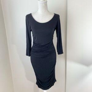 H&M Black 3/4 Sleeve Ruched Bodycon Dress Sz M AB